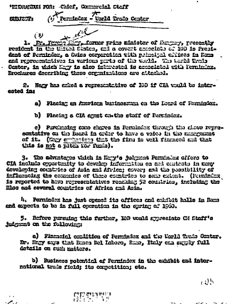 116. CIA document offering to place CIA agent on board of permindex