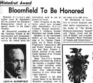 130. Headline Bloomfield to be honored