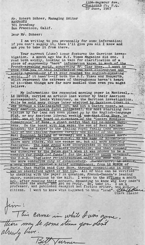 109. Clark Blaise letter to Robert Scheer